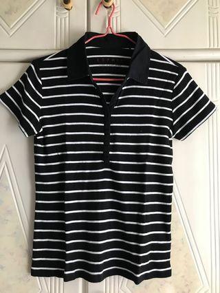 Esprit 黑白間條上衣 polo shirt