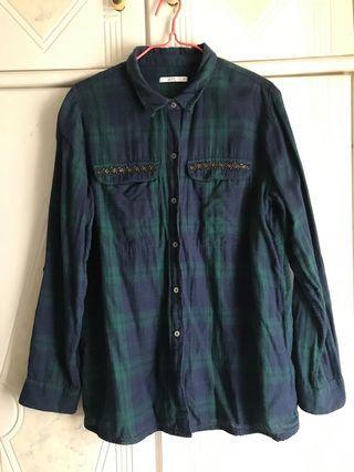 Esprit 綠藍色格仔薄料恤衫