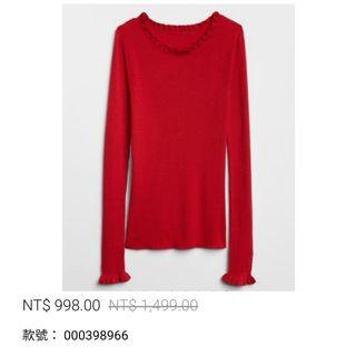 「XXS」GAP 羅紋荷葉邊圓領套頭針織衫 摩登紅色 女式毛衣