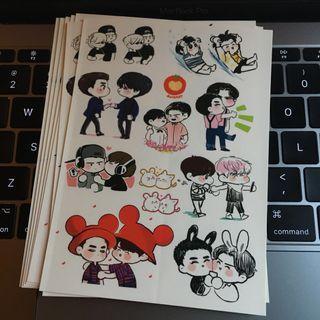 Podo_ko (韓國EXO勛勉畫手 勛翻過牌的 見圖三) 貼紙(勛勉)