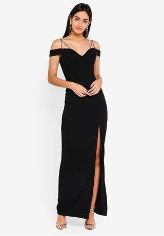 🚚 AX Paris Off Shoulder Strappy Dress with Side Split in Navy