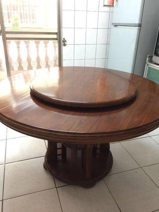 二手餐桌 圓轉盤餐桌