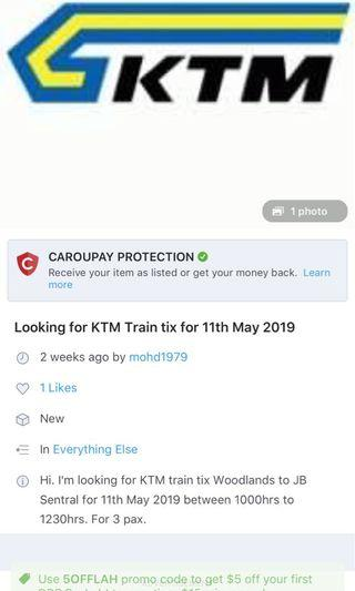 jb sentral to woodlands 26th may ticket