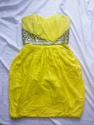 Badgley Mischka yellow tube dress 晚裝 連身裙