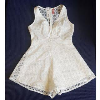 BRAND NEW White Lace/Organza Patterned Romper