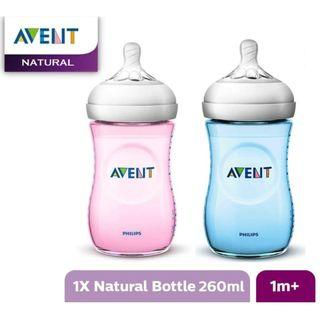 SALE - Single Avent Natural Bottles 260ml/9oz - PINK & BLUE