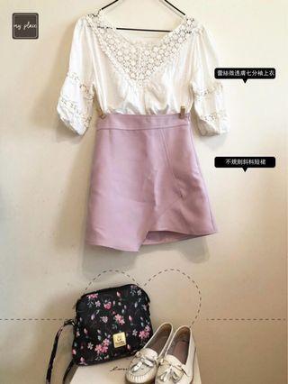 (Friday)白色蕾絲微透膚七分袖上衣+粉色不規則斜料短裙