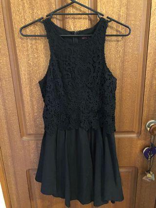 Black lace topped dress
