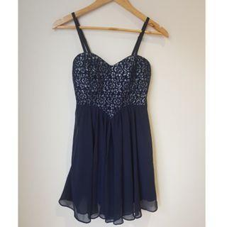 Dotti Navy Blue Embroidered Chiffon Dress