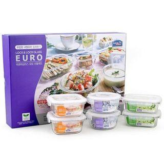 Glass food container set (25$ for 6 pcs)- lock&lock