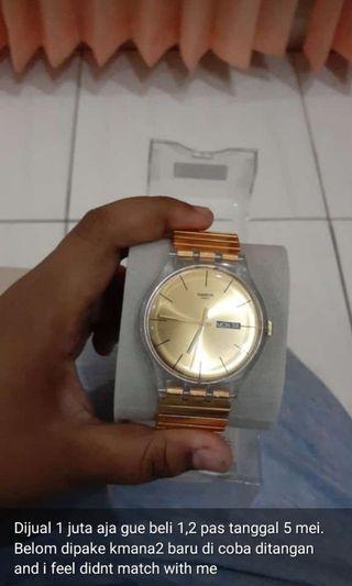 Swatch jam tangan rante gold