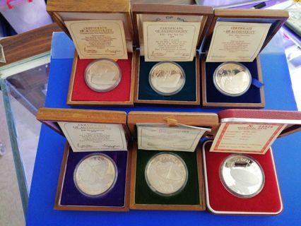 Singapore 1975 1976 1977 1978 1979 1980 Silver Proof $10 Coin