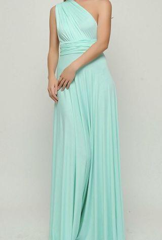 🚚 Mint green convertible long dress