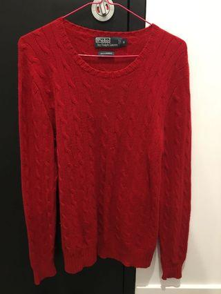 Polo Ralph Lauren Red Cable Knit Jumper - Size s