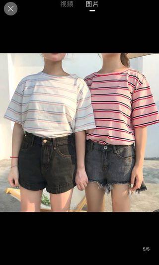 🚚 韓版粉藍條紋上衣