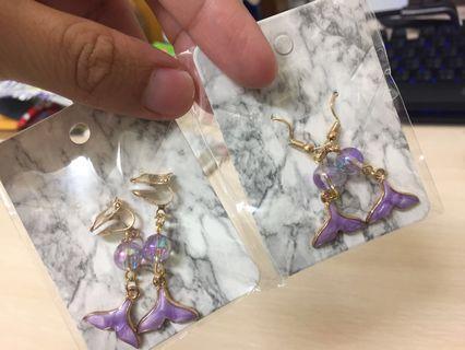 🚚 人魚的眼淚🧜♀️紫色款 夢幻少女耳夾耳環