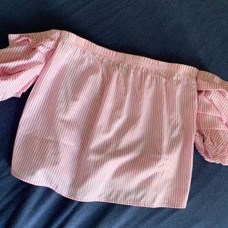 Forever21 粉色條紋一字領