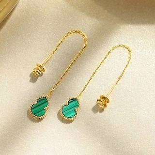 18k gold malachite, red chalcedony earrings