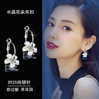🚚 925純銀針 水晶花朵防過敏 耳扣耳環