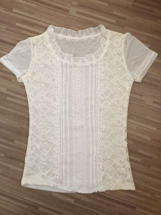 BN White Lace Top