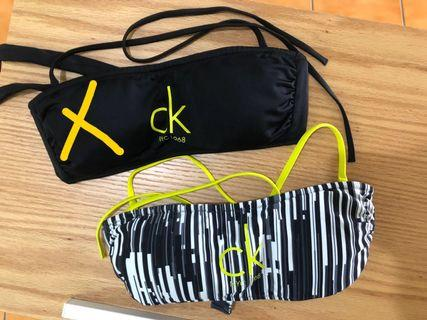🚚 全新正品CK黑白直條紋 平口比基尼上衣S號