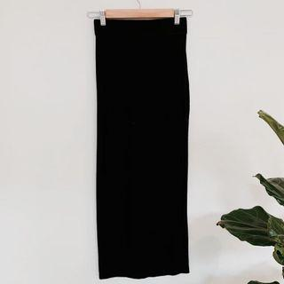 Long cotton midi skirt black