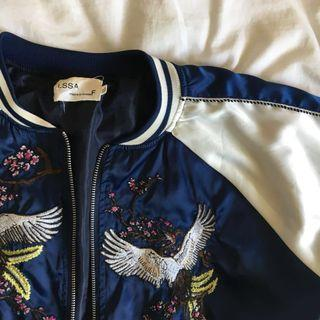 ulzzang navy blue embroidered bomber jacket