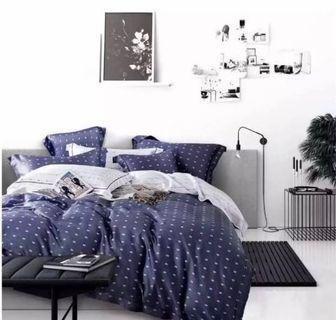 🚚 Tencel polkadot darkblue comfortor/quality quilt blanket