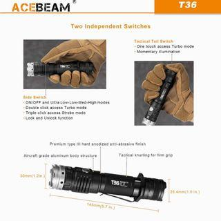 🚚 (Free Delivery_2,000 Lumens) Acebeam T36 Tactical Flashlight_USB Type-C Rechargeable