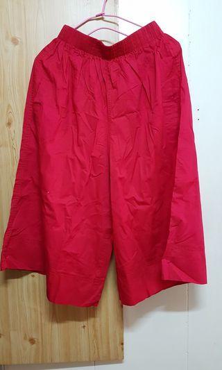 🚚 全新鬆緊紅寬褲