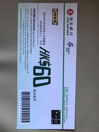 IKEA $60現金券(包郵)