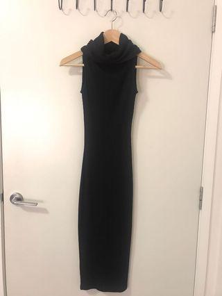 Black turtle neck midi dress