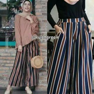 Stripe Trendy Kulot Cutting Garis