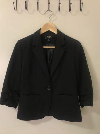 Black cropped sleeve blazer