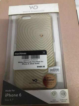 White diamonds heartbeat for iPhone 6 case (used)