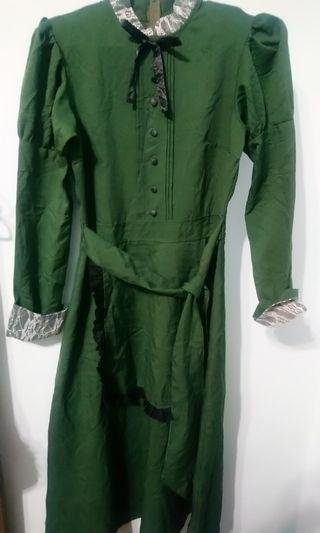 古著 女孩別哭 墨綠蕾絲洋裝