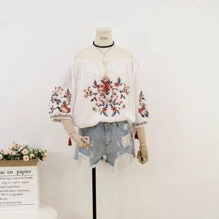 Floral Embroidery off shoulder Top