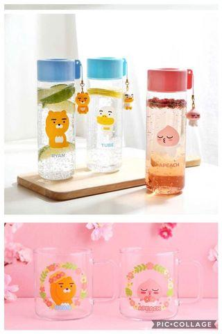 [PO] KAKAO FRIENDS GLASS MUG TUMBLER BOTTLE CUP