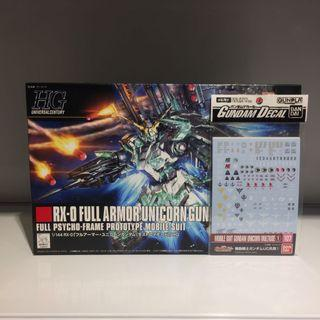 Bandai HGUC RX-0 Full Armor Unicorn Gundam & Waterslide Decal