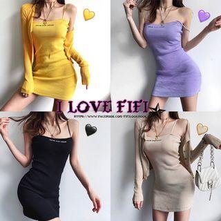 超修身針織細肩帶性感字母洋裝 連身裙 黑黃紫杏色