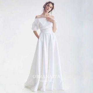 🚚 特價 一字肩緞面禮服輕婚紗
