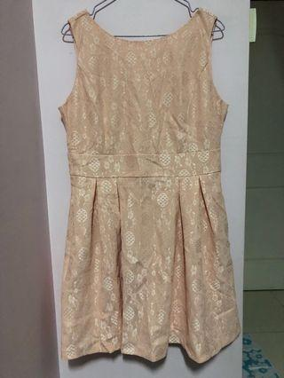 Peach Lace Dress with Pockets