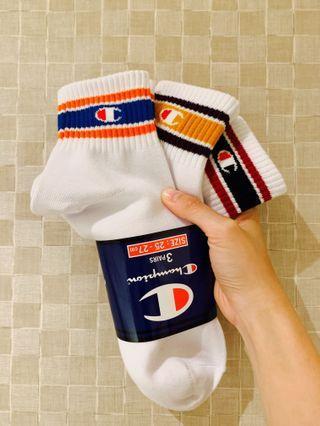 日本 Champion 短襪 Socks 一組 三色 1 Pack 3 Pairs 25-27 Cm 全新