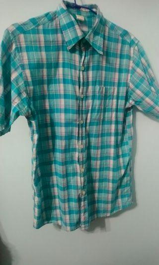 🚚 古著 粉綠格紋襯衫