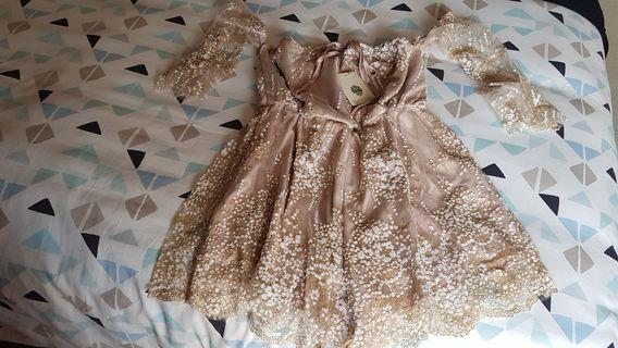New Morning Mist Neutral Shimmering Princess Playsuit Size 6 AUS