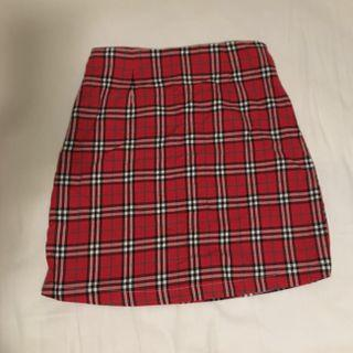 BN ulzzang red plaid skirt