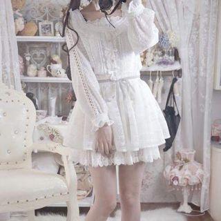 💕 white puffy skirt