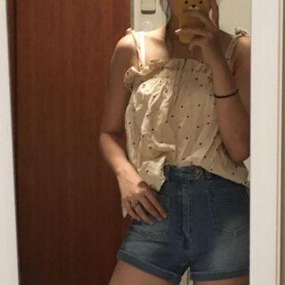 🚚 ulzzang beige pink sleeveless frills polka dot top