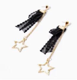 💕 black lace earrings
