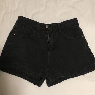 simple black denim shorts